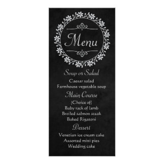 Floral Black Gray Chalkboard Flower Wreath Wedding Rack Card