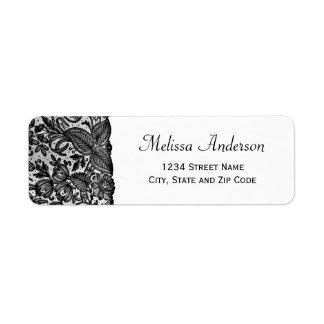 Floral Black Lace Return Address Label
