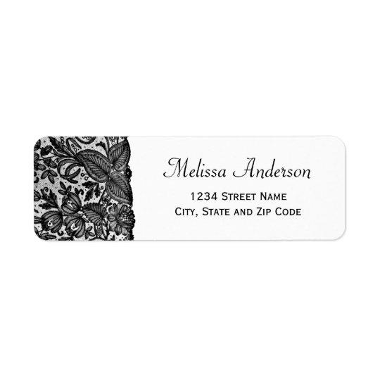 Floral Black Lace Return Address Label