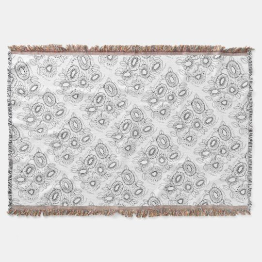 Floral Black Line Art Design Throw Blanket