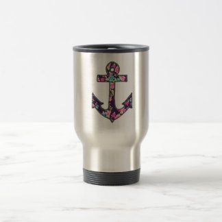 Floral Black Pink Anchor Girly Nautical Coffee Mug