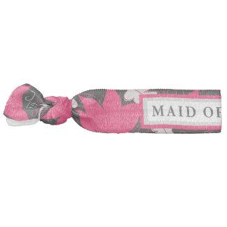 Floral Black/Pink Maid of Honor Hair Tie