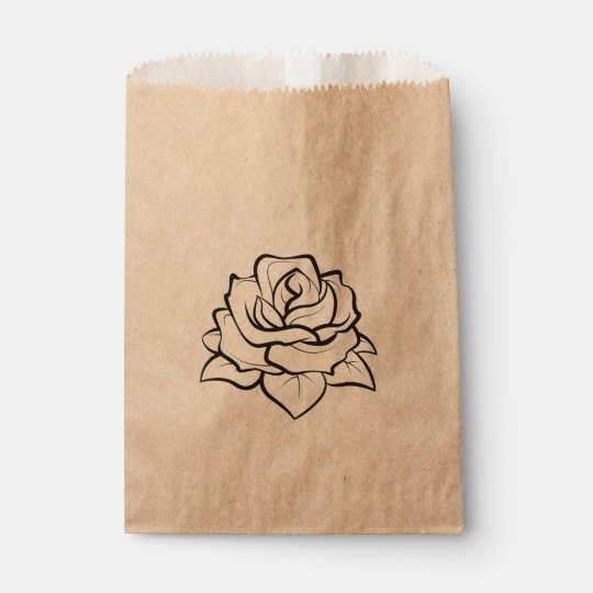 Floral Black Rose Flower Rustic Country Wedding Favour Bag