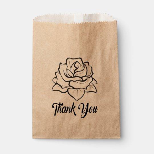Floral Black Rose Flower Rustic Wedding Thank You Favour Bag