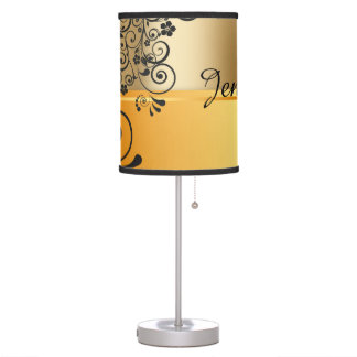 Floral black table lamp