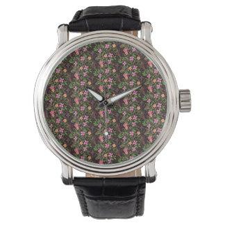 Floral Black Watch Vintage Leather