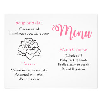 Floral Black & White Rose Flower Pink Menu Wedding