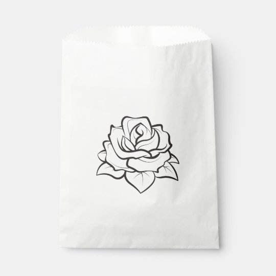 Floral Black & White Rose Flower Wedding Party Favour Bag