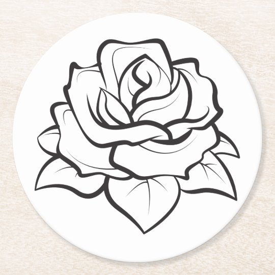 Floral Black & White Rose Flower Wedding Party Round Paper Coaster