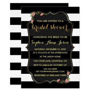 Floral Black White Stripes Bridal Shower Invite