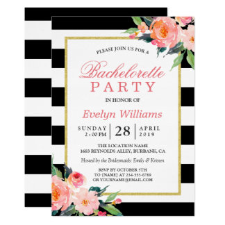 "Floral Black White Stripes Gold Bachelorette Party 5"" X 7"" Invitation Card"
