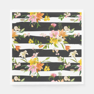 Floral Black & White Stripes Lily Flowers Orange Disposable Napkins
