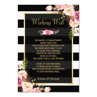 "Floral Black White Stripes   Wedding Wishing Well 3.5"" X 5"" Invitation Card"
