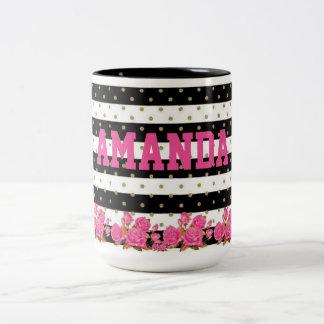 Floral Black & White Stripes with Gold Polka Dots Two-Tone Coffee Mug