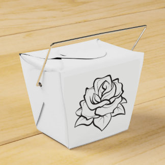 Floral Black & White Wedding Rose Flower Party Favor Box