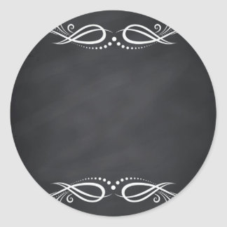 Floral Blank Faux Chalkboard  Curves Customize Classic Round Sticker