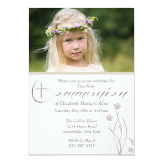 """Floral Blessing Photo First Holy Communion  Invita 5"""" X 7"""" Invitation Card"""