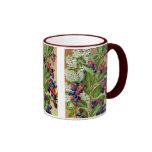 Floral bleu d'abd blanc rouge mug
