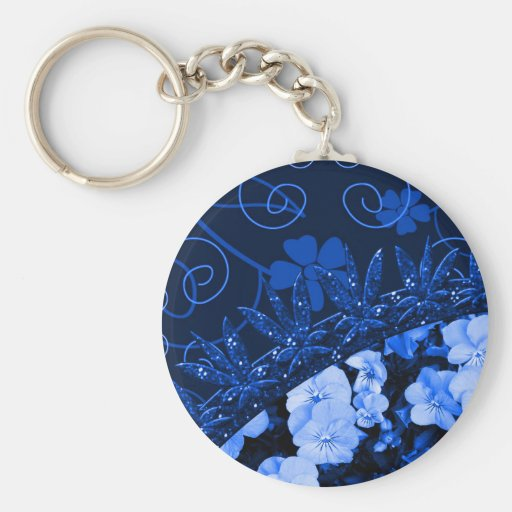 Floral bleu se sentant et scintillement porte-clés