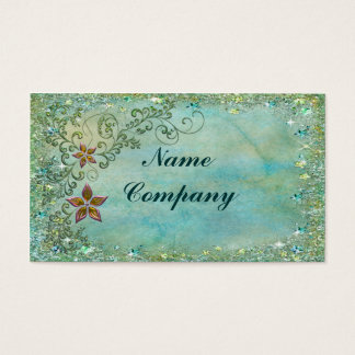 Floral Bling in Turquise Blue Business Card