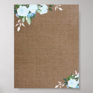 Floral Blooms Burlap Blank Poster