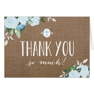 Floral Blooms Burlap Blue Religious Thank You Card