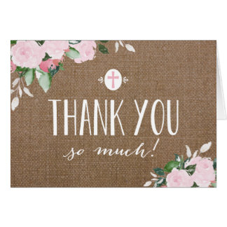 Floral Blooms Burlap Religious Thank You Card
