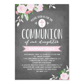Floral Blooms Chalkboard | Communion Invitation