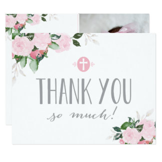 Floral Blooms Religious Thank You Card with Photo