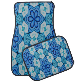 Floral Blue and White Design Set of 4 Car Mats