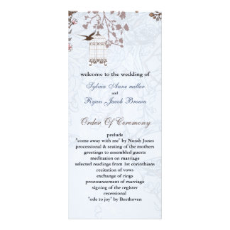 floral blue bird cage, love birds wedding programs rack cards