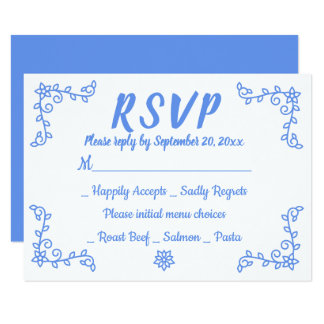 Floral Blue Cornflower RSVP Wedding Flower Laurel Card