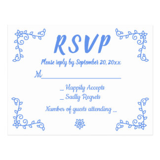 Floral Blue Cornflower RSVP Wedding Flower Laurel Postcard
