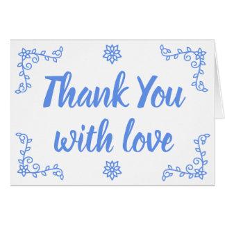 Floral Blue Cornflower Thank You Laurel Flower Card