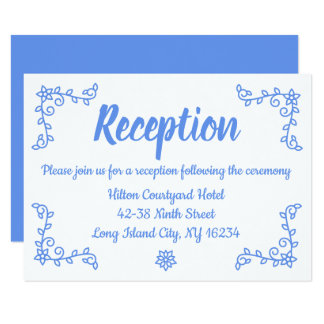 Floral Blue Cornflower Wedding Reception Laurel Card