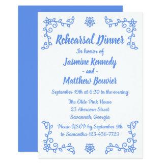 Floral Blue Cornflower Wedding Rehearsal Dinner Card
