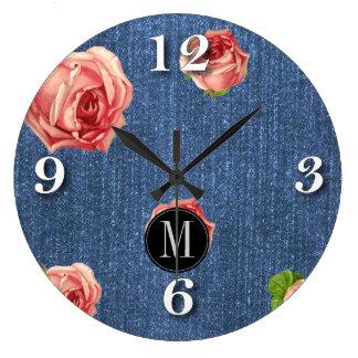 Floral Blue Denim Monogram template Large Clock