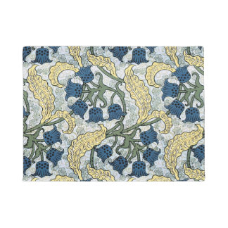 Floral Blue Flowers Lily of the Valley Doormat