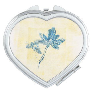 Floral Blue Leaves Monoprint Compact Mirror