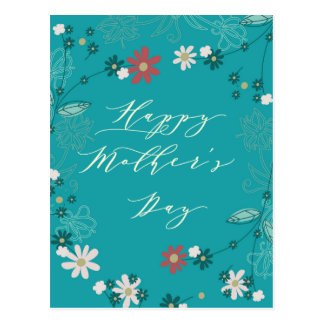 Floral Blue Mothers Day Greeting Postcard