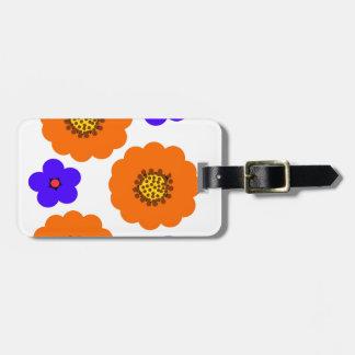 Floral Blue Orange designs Luggage Tag