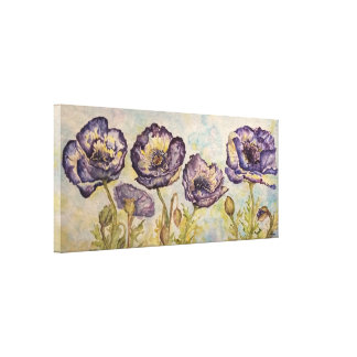 Floral Blue Poppies Watercolor Canvas Print