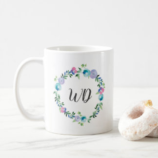 Floral blue purple wreath watercolor Monogram mug