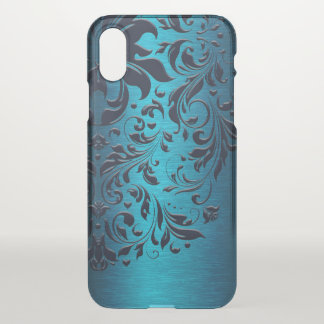 Floral Blue Swirly Lace & Metallic Blue Texture iPhone X Case
