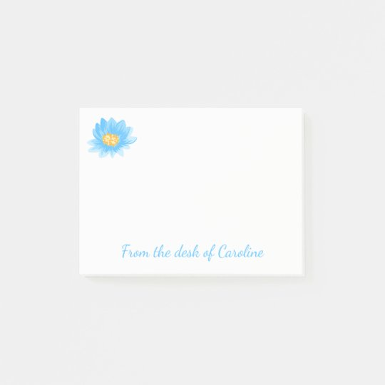 Floral Blue Turquoise Watercolor Flower Post-it Notes