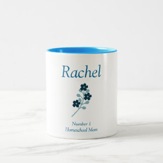 Floral Blue White Floral Number 1 Homeschool Mom Two-Tone Coffee Mug