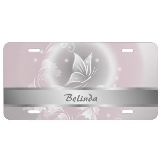 Floral Blush Gray Butterfly  Personalize License Plate