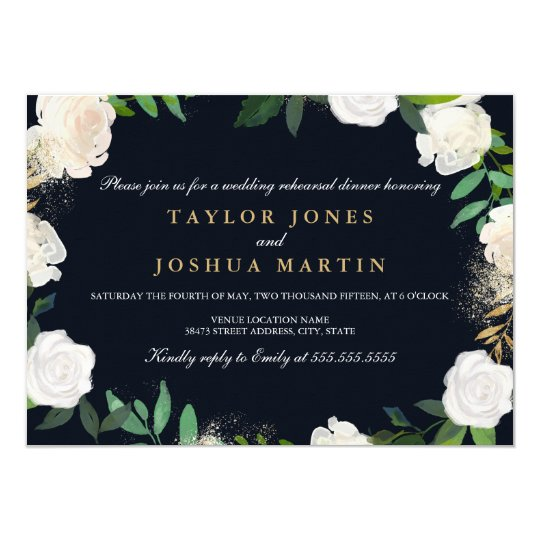 Floral Blush Navy Gold Rehearsal Dinner Invite