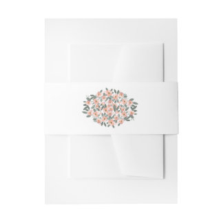 Floral Blush Pattern Wedding Suite Belly Band Invitation Belly Band