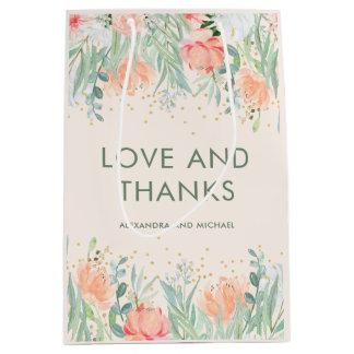 Floral Blush Romance | Watercolor Wedding Medium Gift Bag